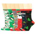 Sumona 6 Pairs Women Christmas Holidays Fancy Design Novelty Crew Socks 9-11