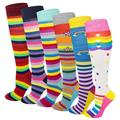 Sumona 6 Pairs Women Fancy Design Rainbow Stripes Knee High Socks