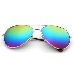 AVIATOR SUNGLASSES - GOLD FRAME WITH RAINBOW GRADIENT LENSES - POLARIZED VINTAGE FASHION STYLE MIRRORED SHADES FOR WOMEN AND MEN