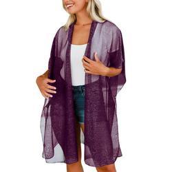 Avamo Womens Draped Open-Front Long Cardigan Kimono Chiffon Lightweight Summer Short Sleeve Beach Tulle Cardigan Long Top Purple XL(US 12-14)