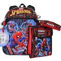 """Spiderman Boys Backpack 5 Piece set with Lunch Box Water Bottle Pencil Case and Hook Clip 16"""""""