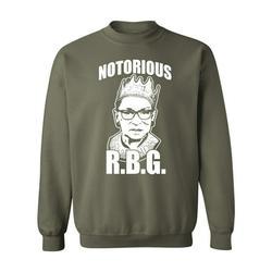 P&B Notorious RBG Ruth Bader Ginsburg Crewneck Sweatshirt, 3XL, Military