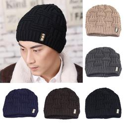 SPRING PARK Men's Fashion Winter Outdoor Beanies Bonnet Knitted Hat Soft Solid Color Braid Warm Cap