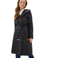 DASTI Down Hooded Coat For Women Long Maxi Womens Parka Packable Puffer Hood Black