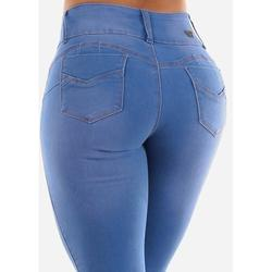 Womens Juniors Soft Denim Skinny Jeans - Light Wash Denim Jeans - Sexy Whiskers Jeans 10860P
