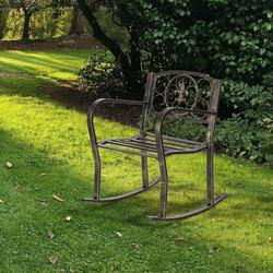 Patio Single Rocking Chair W/ Bent Armrest, Hollowed Carved Rocking Chair, Stable & Sturdy Garden Iron Rocking Chair, Easy to Assemble & Comfortable Size Family Rocking Chair for Patio Garden, T125