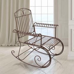 Patio Single Rocking Chair W/ Bent Armrest, Hollowed Carved Rocking Chair, Stable & Sturdy Garden Iron Rocking Chair, Easy to Assemble & Comfortable Size Family Rocking Chair for Patio Garden, T120
