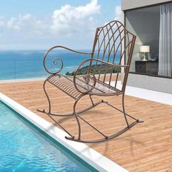 Patio Single Rocking Chair W/ Bent Armrest, Hollowed Carved Rocking Chair, Stable & Sturdy Garden Iron Rocking Chair, Easy to Assemble & Comfortable Size Family Rocking Chair for Patio Garden, T110