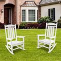 2Pcs Outdoor Wood Porch Rocking Chair Set, Presidential Rocking Chair Supports up to 330 lbs, All-Weather Oversized Porch Rocking Chair, for Garden, Balcony, Backyard and Patio