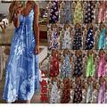Robe longue de plage d'été femme imprimé fleur robe bohème vacances robe avec bretelles cool imprimé
