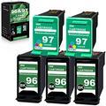 [3 Black+2 Tri-Color] 96 | C9348FN & 97 | C9363WN Compatible Remanufactured Ink Cartridge Replacement for HP HP PhotoSmart 8750 2610 Officejet 7410 Deskjet 9800 6988 6980 Printer Ink Cartridge