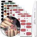WOKOTO 8 Sheets Lattice Nail Art Polish Wraps Stickers With 1Pcs Nail File Solid Color Adhesive Manicure Decal Strips For Women