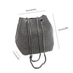 Rhinestone Inlaid Flash Bag Bucket Bag Clutch Bag For Evening Party High-End Banquet