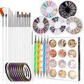 Guanniao 47 PCS Nail DIY Art Set Nail Pen Designer,Professional Nail Art Supplies Kit Nail Dotting Tools, Nail Stickers,Striping Tapes,Decoration Diamond Foil,Nail Painting Tools (White)