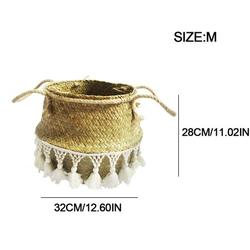 Storage Case Woven Seagrass Storage Basket Portable Handmade Plant Pot Belly Basket Foldable Large Multipurpose Storage Basket with Handles and Tassels for Laundry Picnic Plant Bathroom