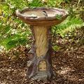 Outdoor Bird Bath Bowl, Dheva Resin Bird Bath Fountain Retro Courtyard Art Decoration for Yard, Garden w/Planter Base, Cute Bird Feeder, Wonderful Outside Decor, Garden Stakes Outdoor Decor (C)