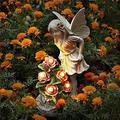 LTouo Resin Fairy Statue, Waterproof Flower Fairy Solar Decoration,Angel Garden Figurines Statue Ornament Fairy Outdoor(12.8 inch) Outdoor Sculpture