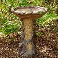 Sruiluo Outdoor Bird Bath Bowl, Feeder,Resin Pedestal Fountain Decoration for Yard, Garden w/Planter Base, Wonderful Garden Decor (Wooden House)