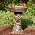Outdoor Bird Bath Bowl, Dheva Resin Bird Bath Fountain Retro Courtyard Art Decoration for Yard, Garden w/Planter Base, Cute Bird Feeder, Wonderful Outside Decor, Garden Stakes Outdoor Decor (A)