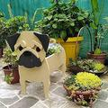 ZLHW Animal-Shaped Cartoon Planter Pots, Dog Planters Wooden, Hand Detailed Dog Planter, Cute Dog Design Herb Planter, for Indoor Outdoor Garden People Succulent Planters Decorations (Color : A)