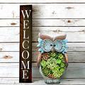 LHTCZZB Outdoor Statue Lawn Ornaments Sculptures Yard Art/Owl Garden Statues/Solar Owl Garden Figures Decor Outdoor Waterproof Resin Succulent Plants with7Led Light-Owl 26x15cm