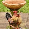TOROFO Bird Bath Bowl for Outdoors Prime, Resin Pedestal Fountain Decoration for Yard, Garden w/Planter Base, Feeder, Wonderful Outside Decor, Best Choice Gift, Handmade Crafts (005-Resin Rooster)