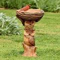 Outdoor Bird Bath Bowl, Dheva Resin Bird Bath Fountain Retro Courtyard Art Decoration for Yard, Garden w/Planter Base, Cute Bird Feeder, Wonderful Outside Decor, Garden Stakes Outdoor Decor (E)