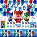 PJ Masks Birthday Party Supplies and Decorations Favors| PJ Mask Party Set include Foil Balloons Banner, PJ Masks Aluminum Foil Balloons, Table Cover, PJ Mask Cake Topper, Gift Bags, etc PJ Masks Theme Birthday Party Supplies for Boys and Girls