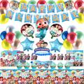 Cocomelon Birthday Party Supplies and Decorations JJ Coco melon Party Favors with Aluminum Foil Balloons Banner, Cocomelon Foil Balloons Set, Cocomelon Centerpieces for Tables, Party Bags, JJ Cocomelon Cake Decoration etc, Cocomelon Party Decorations...