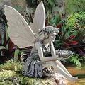 LHTCZZB Sitting Fairy Garden Statues/Angel Girl Outdoor Statue Ornaments Angel Sculptures Garden Figures Figurines/Resin Craft Fairy Art Sculptures for Lawn Porch Pond Patio Yard Art-Flower Fairy