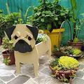 Cute Dog Shaped Gardening Pots, Creative Wooden Blocks Planter for Outdoor Plants, Cartoon Dog Planter Pots, Succulent Planters, Herb Garden Planter, Garden Yard Art Decor (Pug Dog)