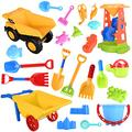 PLMKO 24-Piece Beach Toy Set,Children's Beach Sand Toy,Including Bucket, Car, Shovel, Rake, Watering Can, Mold,Suitable for Children Over 3 Years Old to Play Outdoors