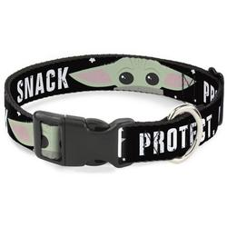 Dog Collar Plastic Clip Star Wars The Child Chibi Face Protect Attack Snack 15 to 26 Inches 1.0 Inch Wide