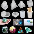 18pcs Silicone Resin Casting Molds Tools, Epoxy Resin Molds for DIY Jewelry Pendant Craft Decoration Making, Including Cube, Pyramid, Sphere, Diamond, Stone Resin Mold with Silicone Cups & Wood Sticks