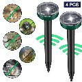 2/4 Pack Mole Repellent Solar Powered for Lawn Garden Yard Outdoor Pest Control Rodent Repellent Ultrasonic Pest Repeller Gopher Repeller Vole Chaser Pest Deterrent 4PCS