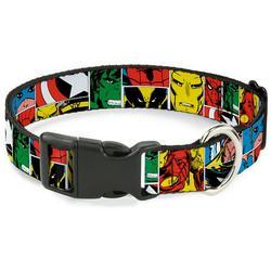 Dog Collar Plastic Clip Marvel Superhero Comic Blocks 15 to 26 Inches 1.0 Inch Wide