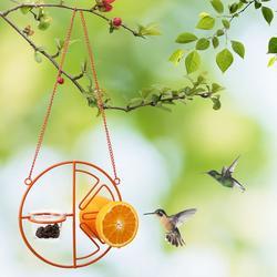 Hanging Bird Feeder, Oriole Wild Bird Feeder - Orange Clementine Design, Steel Bird Feeder with Landing Perches,CF133