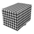 """Plaid Dog Crate Cover, Modern Graphic Argyle Pattern in Black and White Repetitive Diamond Shape Stripes, Easy to Use Pet Kennel Cover for Medium Large Dogs, 35"""" x 23"""" x 27"""", Black White, by Ambesonne"""