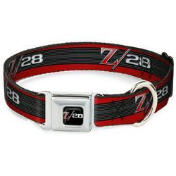 Dog Collar Seatbelt Buckle 1969 Camaro Z 28 Emblem Stripe Red Black Gray Silver 13 to 18 Inches 1.5 Inch Wide