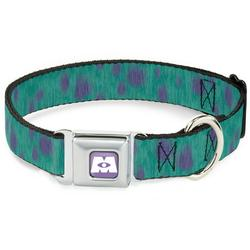 Dog Collar Seatbelt Buckle Monsters Inc Sulley Bounding Spots Blue Purple 15 to 26 Inches 1.0 Inch Wide