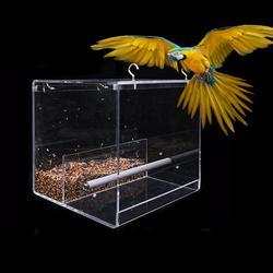 Andoer Hanging Bird Feeder for Cage Bird Feeder House Bird Feed Box Hanging Parrot Food Feeder Container Outdoor Feeding Birdfeeders Acrylic Perch Cage Accessories