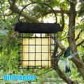 Everso Bird Feeder, Square Wire Bird Feeder, Hanging Wire Mesh Feeder, Bird Feeder with Metal Roof, Detachable, for Outdoor and Living Room