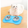 Ecosprial Pet Bowl Cat Bowl Silicone Dog Bowl,Double Bowl,Cat and Dog Eating Bowl,Portable Pet Bowl,Blue