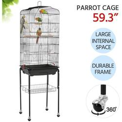 JoyX 59.3-inch Standing Medium Small Parrot Parakeet Bird Cages with Rolling Stand for Lovebirds Finches Canaries Parakeets Cockatiels Budgie Parrotlet Conures Pet Flight Bird Cage Birdcage