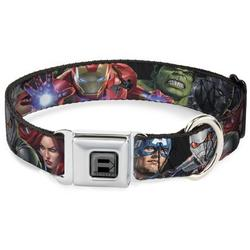 Dog Collar Seatbelt Buckle 7 Vivid Avengers Action Poses 15 to 26 Inches 1.0 Inch Wide