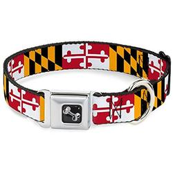 dog collar seatbelt buckle maryland flags 15 to 26 inches 1.0 inch wide