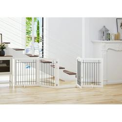 PAWLAND 96-inch Extra Wide 30-inches Tall Dog gate with Door Walk Through, Freestanding Wire Pet Gate for The House, Doorway, Stairs, Pet Puppy Safety Fence, Support Feet Included(White)