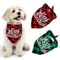 Yodofol Dog Christmas Bandana, Buffalo Plaid Pet Bandana Reversible Triangle Merry Christmas Bibs Accessories for Dogs Cats Pets (Merry Christmas (Red + Green))