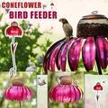 Bird Feeder - Conflower Standing Bird Feeder Outdoor Flower Shape Bird Feeding Station Art Metal Pole Birdfeeder Garden Decor Stake Ideal Gift for for Nature Lover, Wild Bird Watche