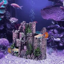 New Creative Aquarium Ornament Castle Hideout, Aquarium Decorations, Fish Tank Decorations Resin Handicrafts L:6.7 x W:2.75 x H:5.1 Inches